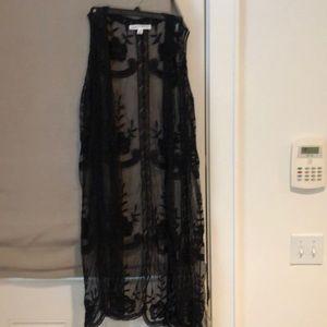 Boho black lace vest /coverup